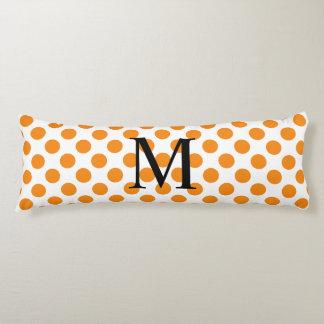 Simple Monogram with Orange Polka Dots Body Cushion