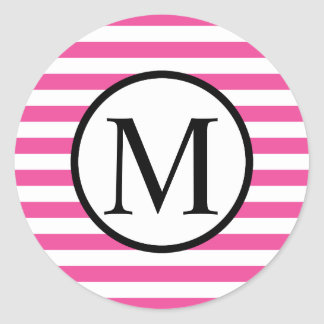 Simple Monogram with Pink Horizontal Stripes Classic Round Sticker