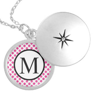 Simple Monogram with Pink Polka Dots Silver Plated Necklace