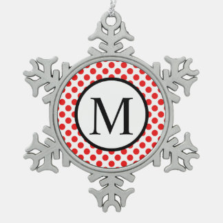 Simple Monogram with Red Polka Dots Snowflake Pewter Christmas Ornament