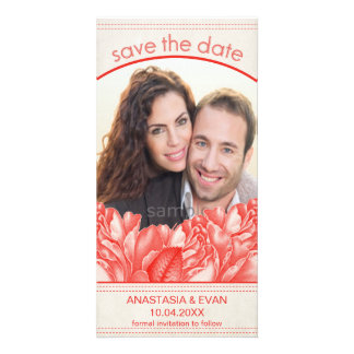 Simple Natural Botanical Red Rose Save the Date Card