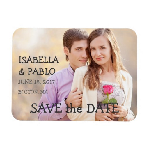 SIMPLE PHOTO SAVE THE DATE | VINTAGE RECTANGULAR MAGNET