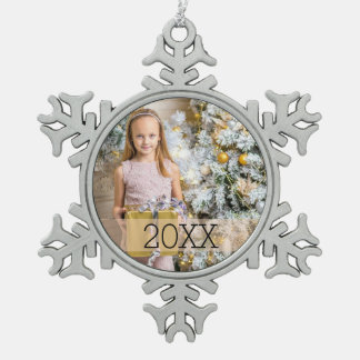 Simple Photo Year Snowflake Pewter Christmas Ornament