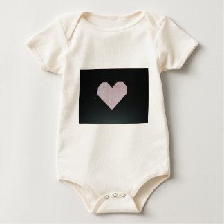 simple pink origami heart baby bodysuit