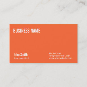Journalism new media business cards zazzle nz simple plain orange journalist business card reheart Images