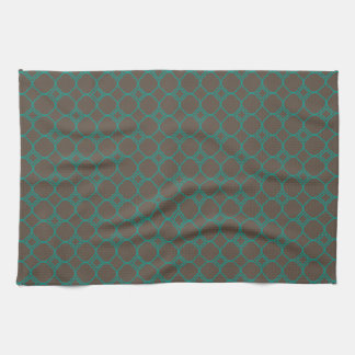 Simple Quatrefoil Pattern in Teal and Taupe Kitchen Towels