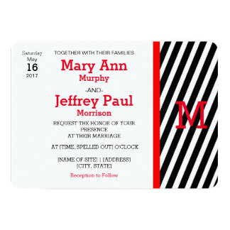 Simple Red and Striped Photo Wedding Invitation
