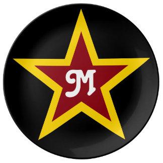 Simple Red & Yellow Star Custom Monogram on Black Plate