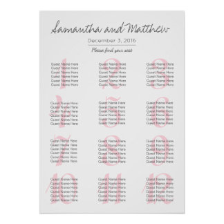 Simple Romantic Blush Wedding | Seating Chart Poster