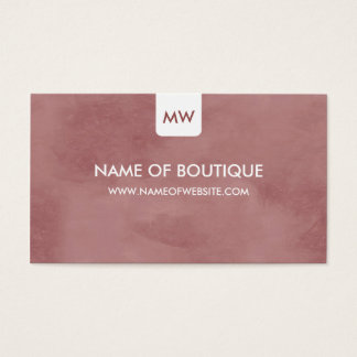 Simple Rosy Brown Boutique Monogram Social Media Business Card