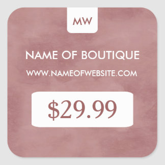 Simple Rosy Brown Chic Boutique Monogram Price Tag