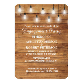 Simple Rustic Wood  Lights Engagement Party Card