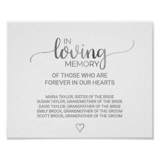 Simple Silver Calligraphy In Loving Memory Sign Poster