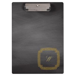 Simple Square Monogram on Chalkboard Clipboard