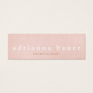 Simple Stylish Blush Pink Faux Linen Beauty Spa 2 Mini Business Card