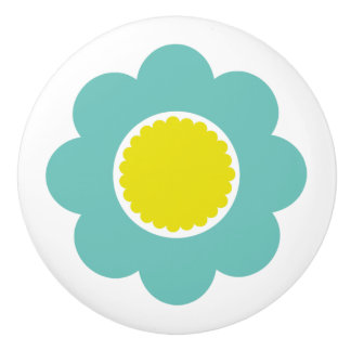 Simple Teal and Yellow Flower Ceramic Knob
