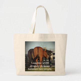 simple tote, laughing horse large tote bag