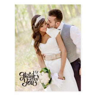 Simple Vertical Wedding Thank You Postcard Elegant
