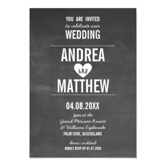 SIMPLE WEDDING cute plain type heart chalkboard Card