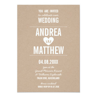 SIMPLE WEDDING cute plain type heart white kraft Card