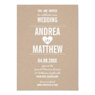 SIMPLE WEDDING cute plain type heart white kraft 13 Cm X 18 Cm Invitation Card