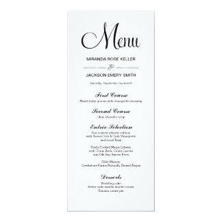 Simple Wedding Menu / Elegant Wedding Menu Card