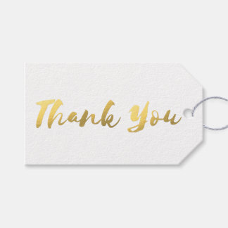 Simple White and Faux Gold Foil Thank You