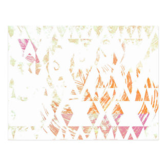 Simple White Boho Triangles Faded Orange Pattern Postcard