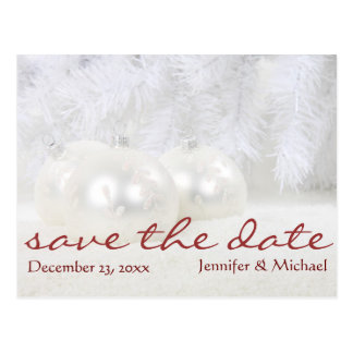 Simple White Christmas Winter Save the Date Postcard