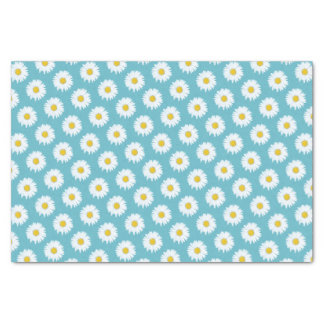 Simple White Daisy on Blue Pattern Tissue Paper