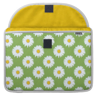 Simple White Daisy on Green Pattern MacBook Pro Sleeves