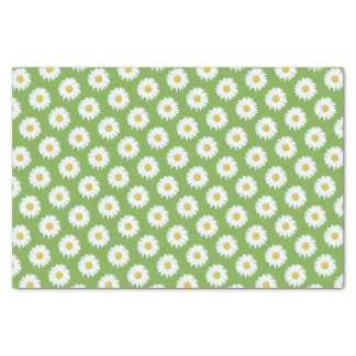 Simple White Daisy on Green Pattern Tissue Paper