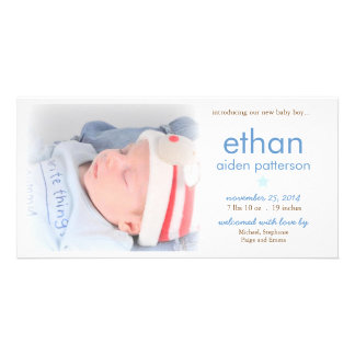 Simplicity Baby Boy Photo Birth Announcement Card