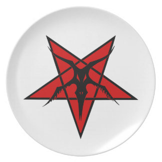 Simplified Baphomet Pentagram Party Plate
