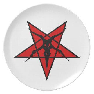 Simplified Baphomet Pentagram Plate