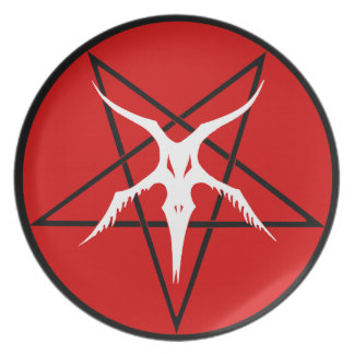 Simplified Baphomet Pentagram - Red Party Plates
