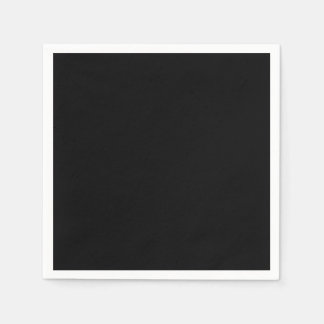 Simply Black Solid Color Paper Napkins