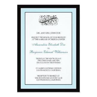 Simply Elegant 5x7 Black/Blue Wedding Invite