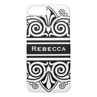 Simply Elegant Black and White Vintage Damask iPhone 7 Case