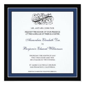 Simply Elegant Wedding Invitation (black/navy)