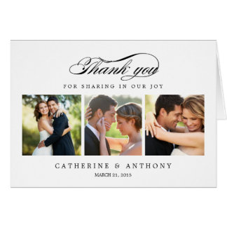 Simply Elegant Wedding Thank You Card - White