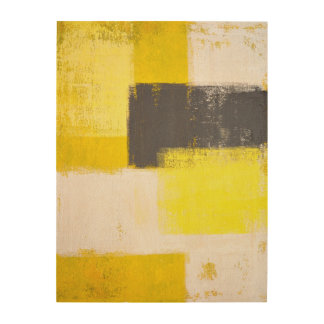 'Simply Modern' Grey and Yellow Abstract Art Wood Prints