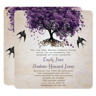 Simply Peachy Purple Romantic Heart Leaf Tree Card