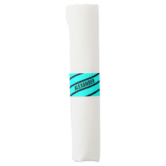 Simply Stripes turquoise + your backgr. & Name Napkin Band