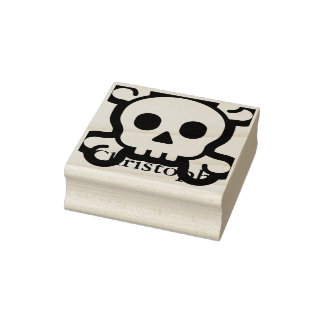 Simply Symbols / Icons - SKULL & BONES + Name Rubber Stamp
