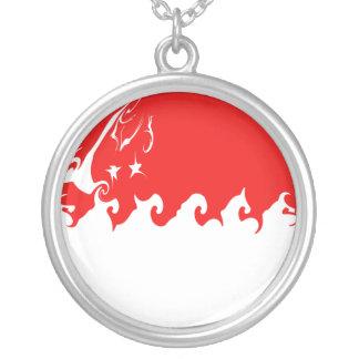 Singapore Gnarly Flag Round Pendant Necklace