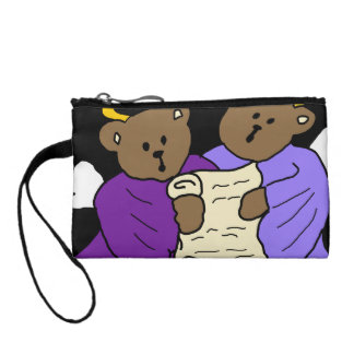 Singing Teddy Bear Angels in Purple Robes Coin Purse