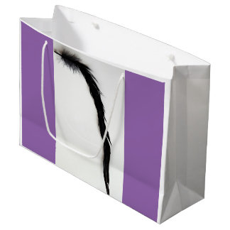 SINGLE BLACK FEATHER TWO FACE SHOPPING BAG