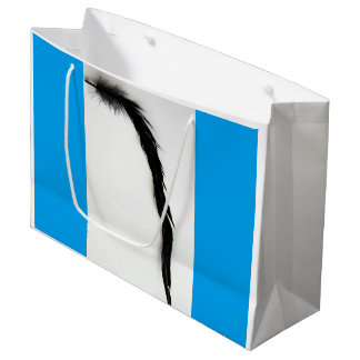 SINGLE BLACK FEATHER WITH BLUE SHOPPING BAG