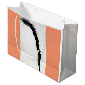 SINGLE BLACK FEATHER WITH PEACH LARGE GIFT BAG